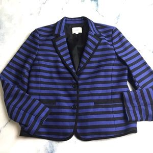 LOFT Stripe Blazer Jacket Blue Black